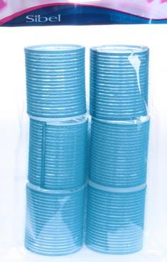 SIBEL Бигуди-липучки голубые 56 мм 6 шт/уп