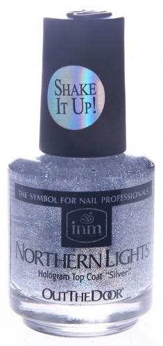 INM Сушка-закрепитель лака голографическая, серебро / Northern Lights Silver 15 мл