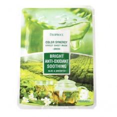 Маска тканевая на основе экстрактов алоэ и зеленого чая, 20 г (Deoproce)