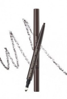 Карандаш для бровей 3 в1 THE SAEM Eco Soul Designing Eyebrow 02 Dark Brown 0,2г+0,12г