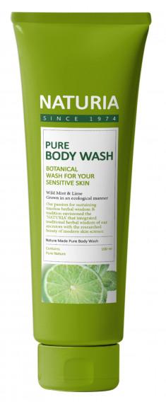 EVAS Гель для душа Мята - лайм / NATURIA PURE BODY WASH, Wild Mint & Lime 100 мл