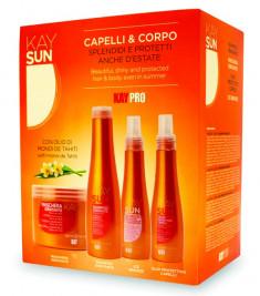 KAYPRO Набор для волос (шампунь 300 мл, маска 500 мл, защитное масло 150 мл, защитный лосьон для загара 150 мл) / KAY SUN
