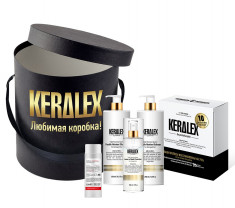 PROTOKERATIN Набор подарочный салонной процедуры (набор стартовый 3х150 мл, шампунь 250 мл, бальзам 250 мл, спрей 150 мл, гель для рук 100 мл) Keralex