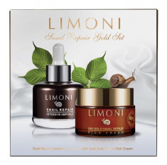 LIMONI Набор для лица (сывортока 25 мл + крем 50 мл) Snail Repair Gold Set