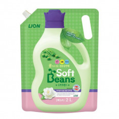 Lion Soft Beans Кондиционер для белья на основе экстракта зеленого гороха мягкая упаковка 2л