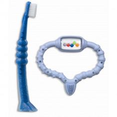 Curaprox Baby Прорезыватель-погремушка с зубной щеткой голубой