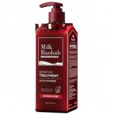 бессульфатный и бессиликоновый бальзам milkbaobab sensitive treatment damask rose